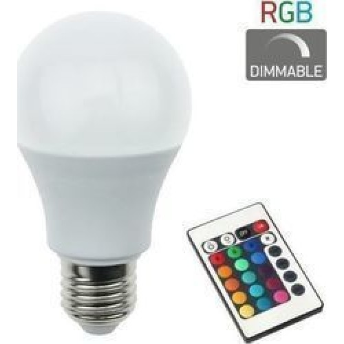 Λάμπα led Ε27 RGB με Τηλεχειριστήριο 5377